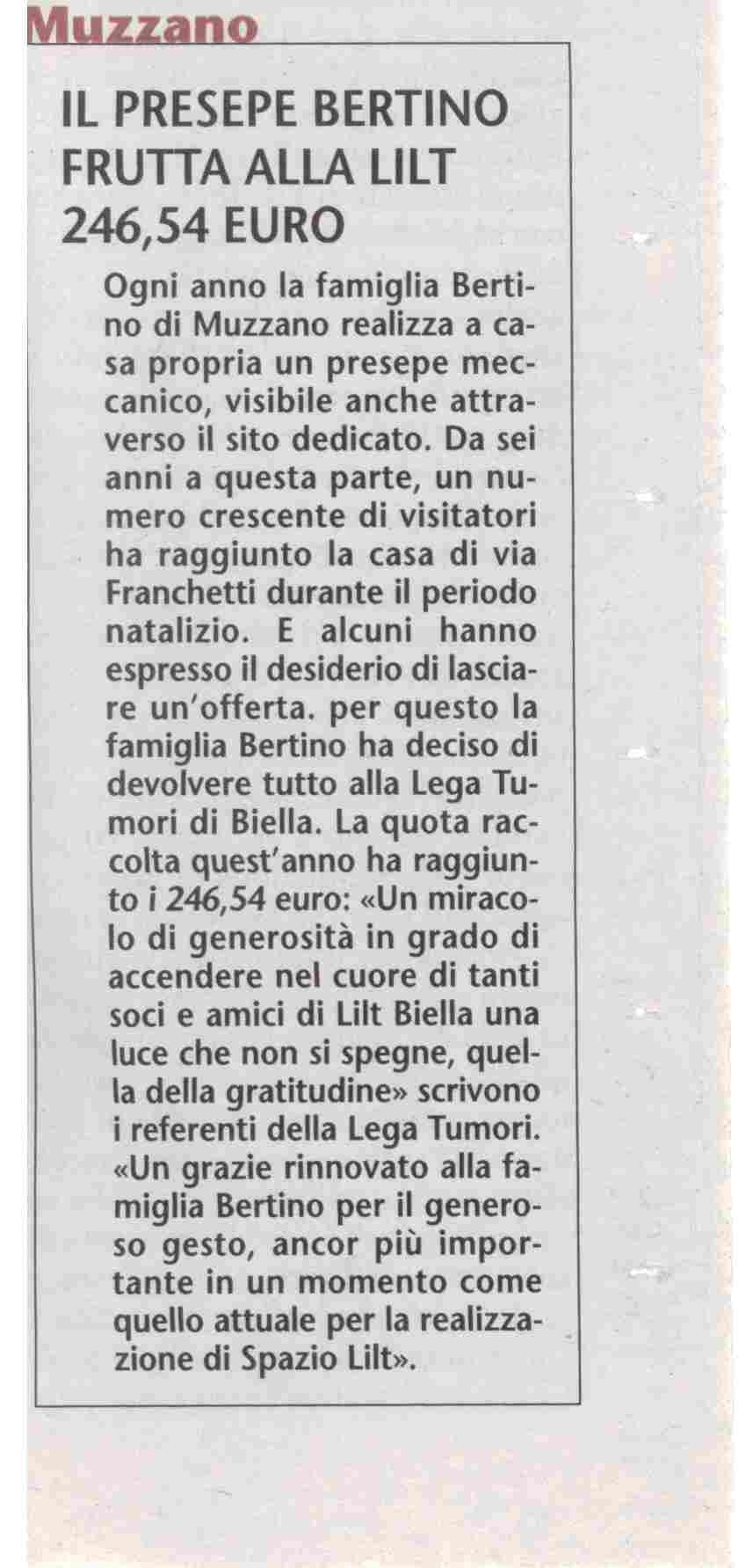 Il presepe Bertino frutta alla Lilt 246,54 Euro