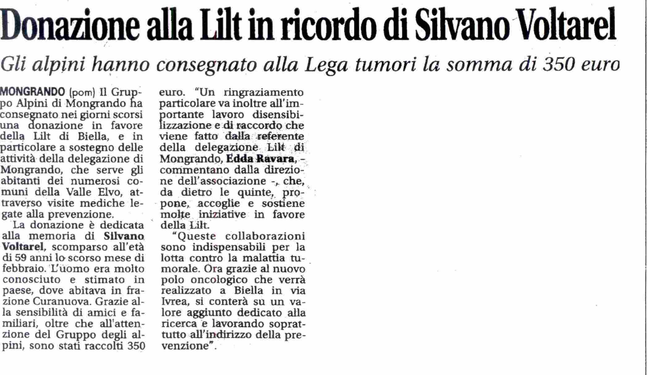 Donazione alla Lilt in Ricordo di Silvano Voltarel