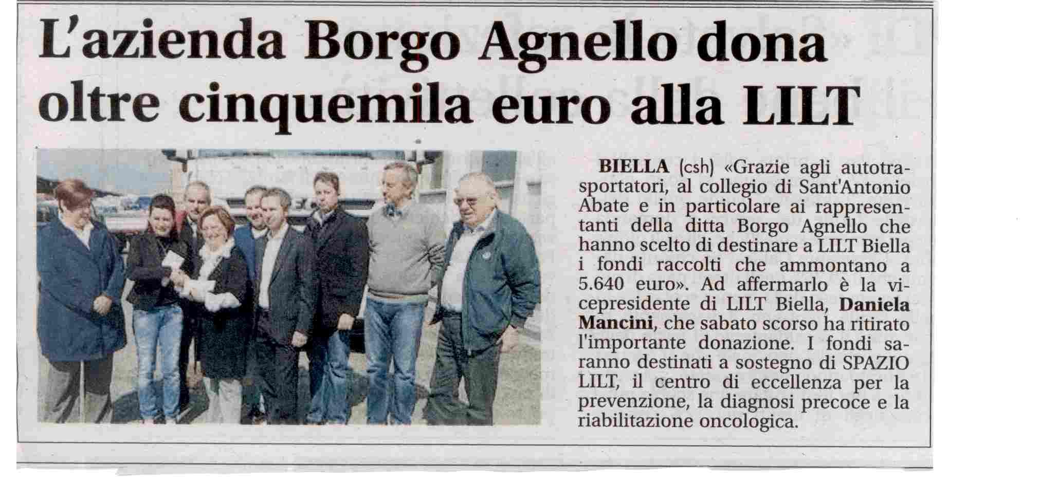 L'Azienda Borgo Agnello dona oltre 5000 € alla LILT