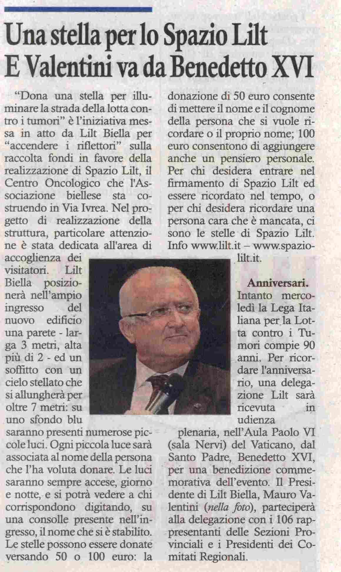 Una stella per lo Spazio Lilt e Valentini va da Benedetto XVI